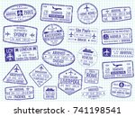 international visa stamps on... | Shutterstock .eps vector #741198541