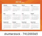 2018 calendar   illustration... | Shutterstock .eps vector #741200365