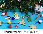 christmas decorations ... | Shutterstock . vector #741202171