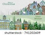 residential house on happy... | Shutterstock .eps vector #741202609