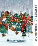 residential house on happy... | Shutterstock .eps vector #741202669