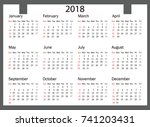 2018 calendar   illustration... | Shutterstock .eps vector #741203431