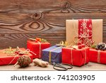 creatively wrapped and... | Shutterstock . vector #741203905