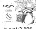 coffee product label by pen  ... | Shutterstock .eps vector #741206881