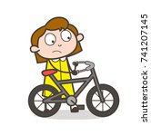 cartoon girl riding bicycle... | Shutterstock .eps vector #741207145