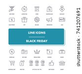 line icons set. black friday...