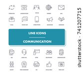 line icons set. communication... | Shutterstock .eps vector #741207715