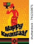 greeting card for kwanzaa with... | Shutterstock .eps vector #741210871