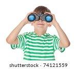 Boy Holding Binoculars Isolated ...