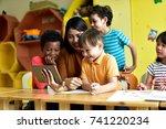 teachers and children  having...   Shutterstock . vector #741220234