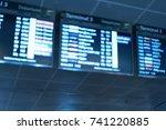 blurry image of flight schedule ... | Shutterstock . vector #741220885