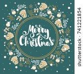 merry christmas hand drawn... | Shutterstock .eps vector #741221854