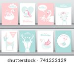 set of birthday invitations... | Shutterstock .eps vector #741223129