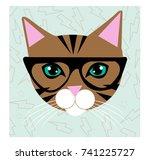 cat hipster galsses | Shutterstock .eps vector #741225727
