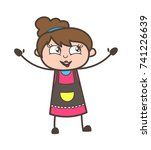 laughing in excitement  ... | Shutterstock .eps vector #741226639