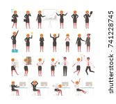 various poses for business... | Shutterstock .eps vector #741228745