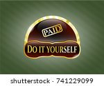 shiny badge with paid icon and ... | Shutterstock .eps vector #741229099