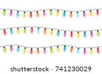 colorful christmas lights ... | Shutterstock .eps vector #741230029