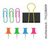 paper clip  binder clip and... | Shutterstock .eps vector #741238009