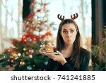 picky girl hating the cake at... | Shutterstock . vector #741241885