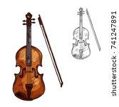 violin or contrabass musical... | Shutterstock .eps vector #741247891