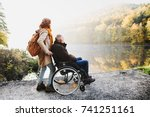 senior couple with wheelchair... | Shutterstock . vector #741251161