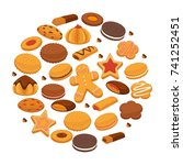 bakery cookies and patisserie... | Shutterstock .eps vector #741252451