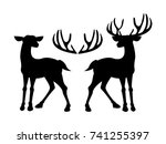 male deer and female deer icon... | Shutterstock .eps vector #741255397
