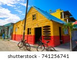 holbox island colorful... | Shutterstock . vector #741256741