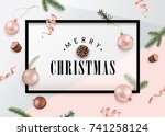 christmas flat design with... | Shutterstock .eps vector #741258124