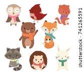 set of cute winter animals | Shutterstock .eps vector #741265591