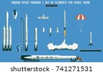 set of elements for space... | Shutterstock .eps vector #741271531