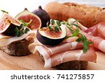 sandwich with figs and... | Shutterstock . vector #741275857