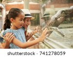 excited children looking at... | Shutterstock . vector #741278059