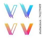 letter v colorful logotype with ... | Shutterstock .eps vector #741279499