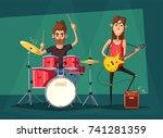 rock music band. old school... | Shutterstock .eps vector #741281359