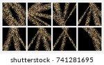 golden confetti on a black... | Shutterstock .eps vector #741281695