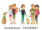 set of young people traveling | Shutterstock .eps vector #741283867
