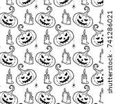 happy halloween vector patter.... | Shutterstock .eps vector #741286021