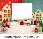 red and green christmas snowy... | Shutterstock . vector #741286819