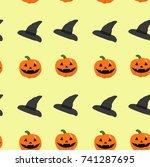 festive halloween pattern with... | Shutterstock .eps vector #741287695