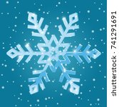 Snowflake star-shaped on blue background. Vector 3d illustration