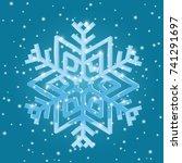 Snowflake on blue background. Vector 3d illustration