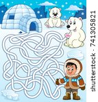 maze 4 with arctic theme 2  ... | Shutterstock .eps vector #741305821