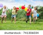 playful elementary school age...   Shutterstock . vector #741306034