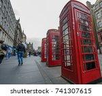 streets of edinburgh  red...   Shutterstock . vector #741307615