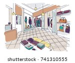 colorful sketch of fashion... | Shutterstock .eps vector #741310555