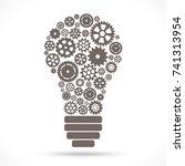 light bulb with gray gear... | Shutterstock .eps vector #741313954