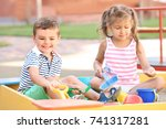 little children playing with... | Shutterstock . vector #741317281