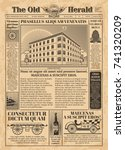 vintage newspaper vector... | Shutterstock .eps vector #741320209